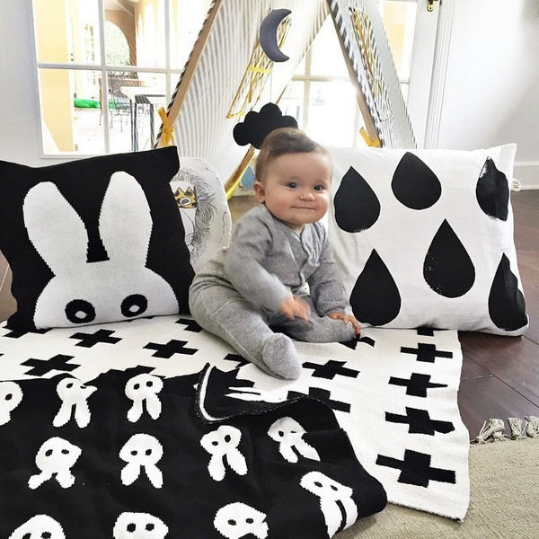 Baby Blanket Black White Cute Rabbit Swan Cross Knitted Plaid For Bed Sofa Bed Spread Bath Towels Play Mat Gift - Mia & Stitch