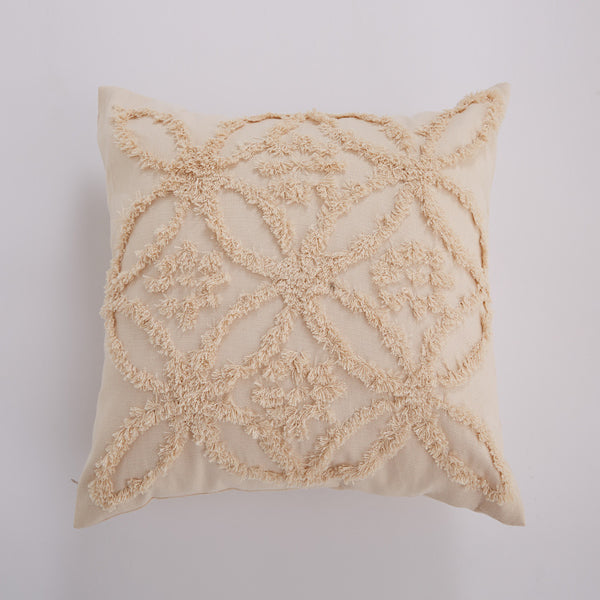 Beige Cushion Cover  Vintage Floral Moroccan Style Pillow Cover 45x45cm Home decoration Zip Open - Mia & Stitch