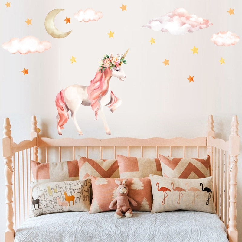 Cute Cartoon Unicorn Wall Stickers For Kids Room Girls