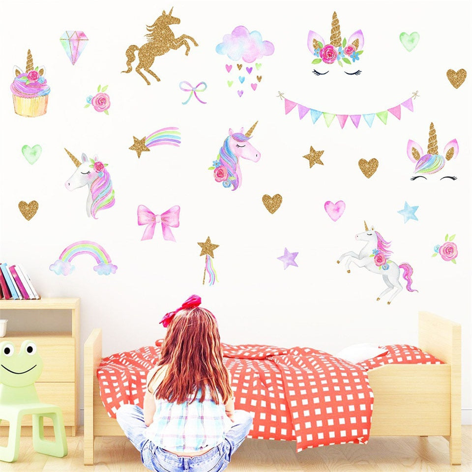 Unicorn Wall Sticker Art Girls Room Baby Nursery Mural Vinyl Decal Home Decor