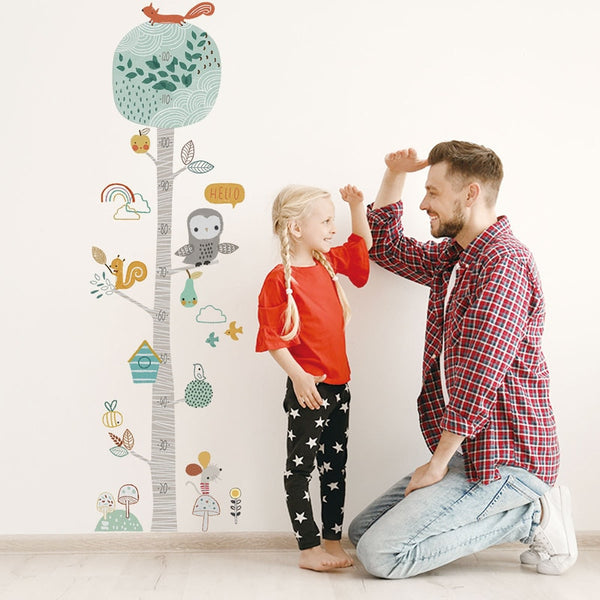 Cute Forest Tree Height Measure Wall Sticker For Kids Room Nursery Child Growth Chart Wall Decal Baby Gift Animal Room Decor - Mia & Stitch