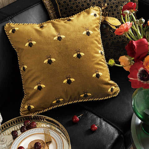 Cushion Cover Decorative Pillow Case European Luxury Art Gold Yellow Bee Print Velvet Soft Coussin Sofa Chair Cushion - Mia & Stitch
