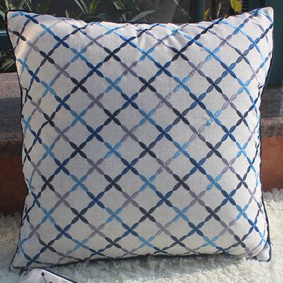Cushion Cover Decorative Pillow Case Simple Chinese Geometric Embroidery Blue Coussin Modern Home Office Sofa Deco - Mia & Stitch