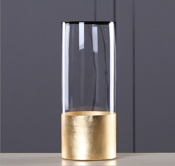 Glass Flower Vase with Gold Foil Living Room Decor - Mia & Stitch