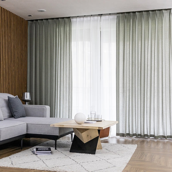 Fashion Voile Double Layer Stripe Sheer Curtains for Living Room Luxury Home Solid Designer Kitchen Curtains Morden Tulle - Mia & Stitch