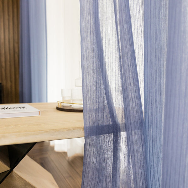 Fashion Voile Double Layer Stripe Sheer Curtains for Living Room Luxury Home Solid Designer Kitchen Curtains Morden Tulle 1 - Mia & Stitch