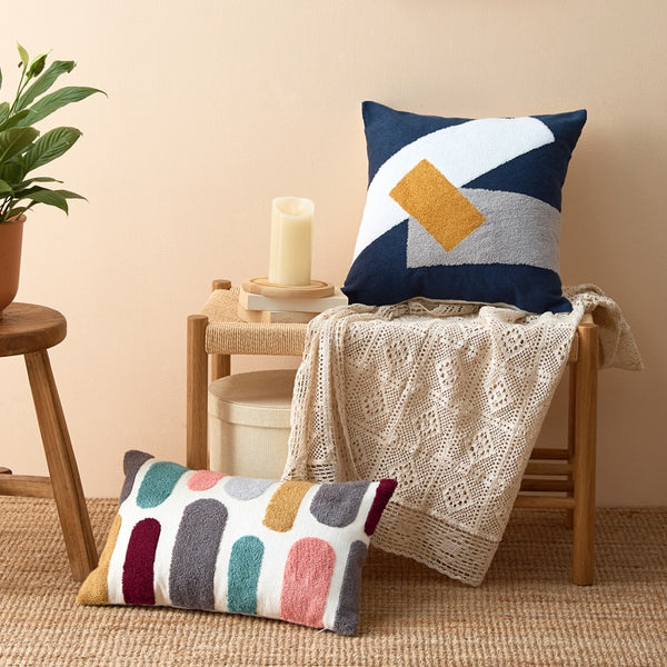 Abstract Geometric Cushion Cover Throw Pillow with Embroidery - Mia & Stitch