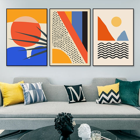 Geometric Abstract Canvas Painting Wall Art for Living Room Interior Home Decor - Mia & Stitch