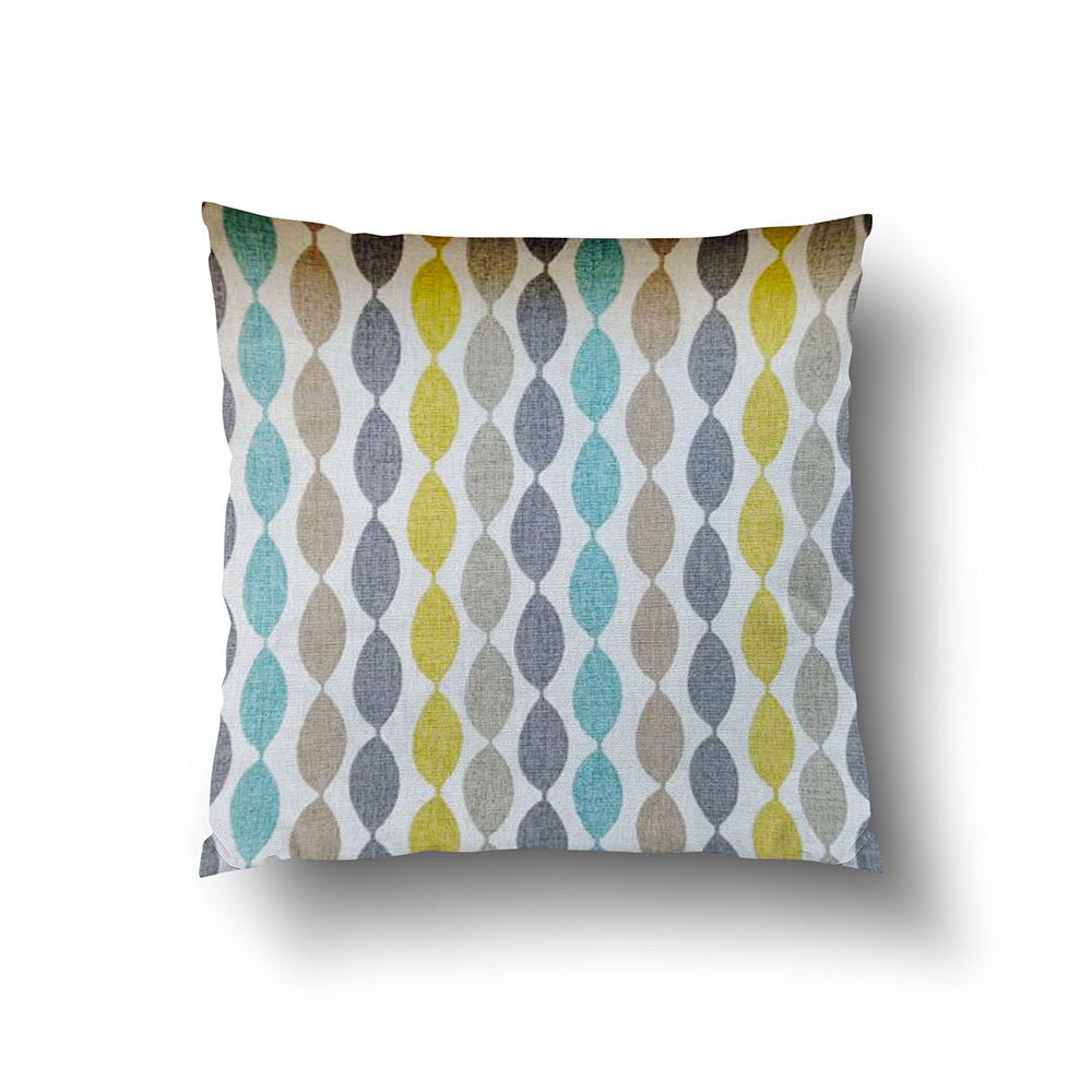 Cushion Cover - Retro Eyelet Green, Grey, Brown and Teal Blue - Mia & Stitch