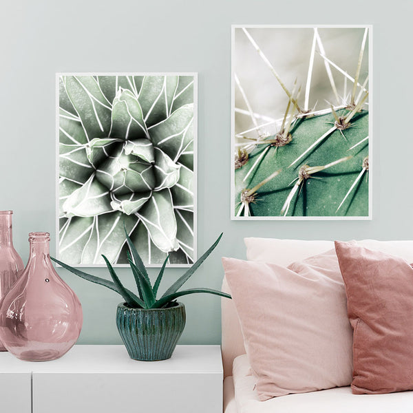 Green Cactus Succulent Orchid Leaves Wall Art Canvas Painting Nordic Posters And Prints Wall Pictures For Living Room Wall Decor - Mia & Stitch