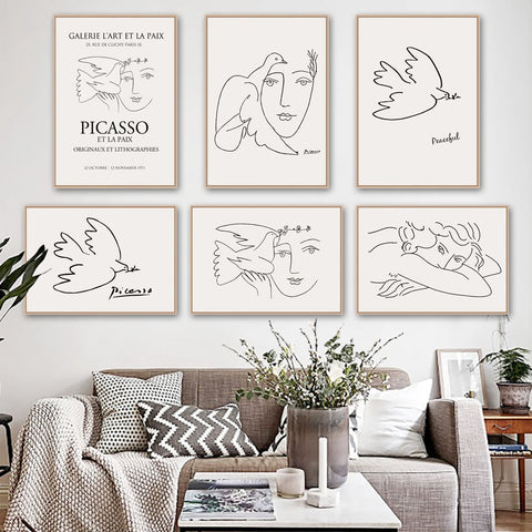 Picasso Girl Bird Line Drawing Wall Art Canvas Painting Nordic Posters And Prints Wall Pictures For Living Room Decor - Mia & Stitch