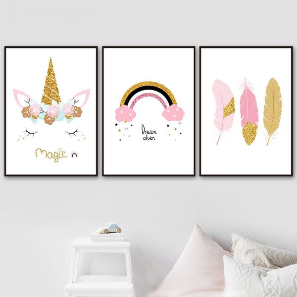 Cartoon Rainbow Unicorn Feather Wall Art Canvas Painting Nordic Posters And Prints Wall Pictures Kids Room Girl Room Wall Decor - Mia & Stitch