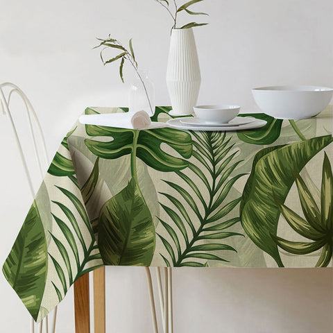 Nordic modern linen cotton square green tropical leaf tablecloth cover cloth - Mia & Stitch