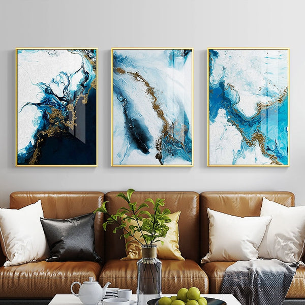 Nordic Abstract color spalsh blue golden canvas painting poster and print unique decor wall art pictures for living room bedroom - Mia & Stitch