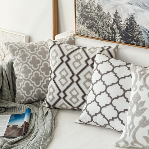Home Decor Geometric Emboridered Cushion Cover Grey Canvas Cotton - Mia & Stitch