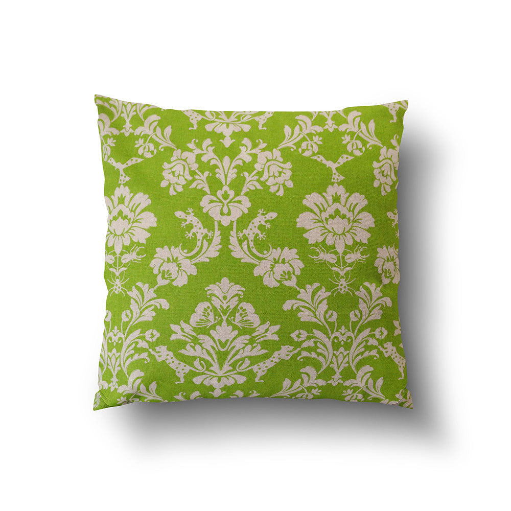 Cushion Cover - Green Damask Cotton Linen Pillow - Mia & Stitch