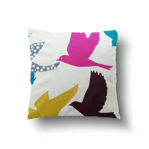 Cushion Cover - Colorful Large Birds Pattern on Cream Background - Mia & Stitch