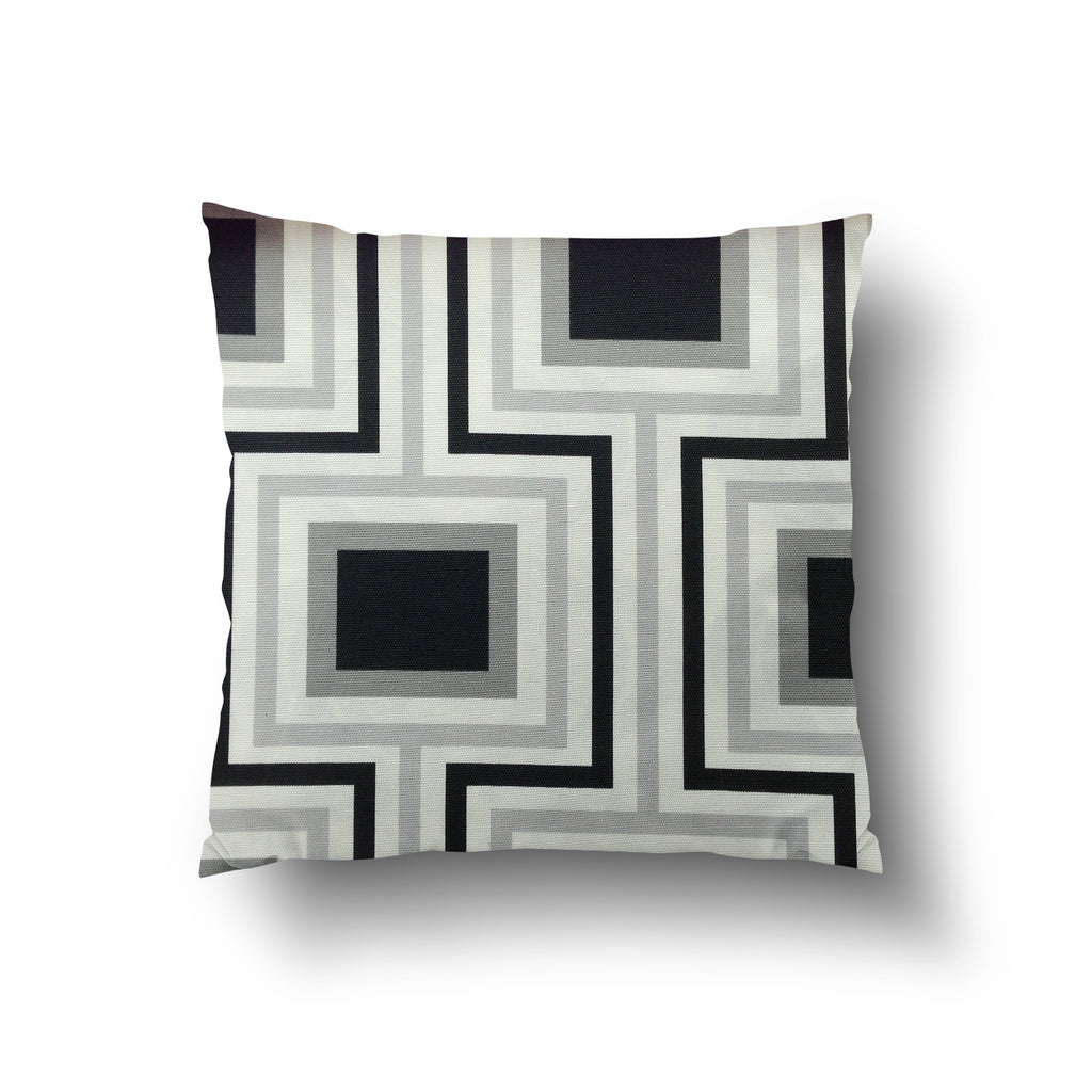 Cushion Cover - Retro Geometric Grey, White and Black Square Pattern - Mia & Stitch
