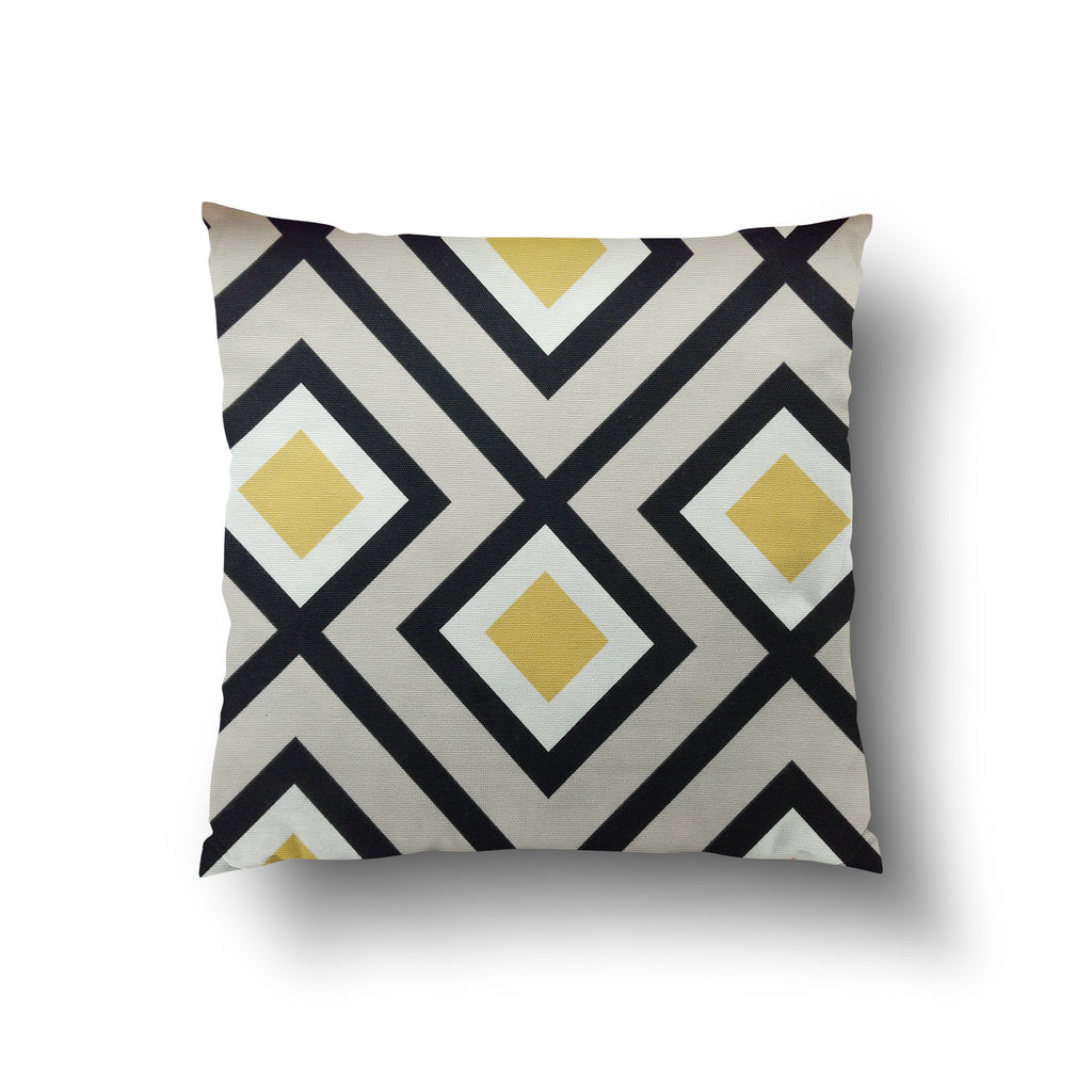 Cushion Cover - Retro Geometric Yellow, White and Beige Pattern - Mia & Stitch