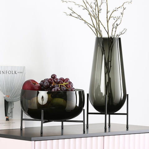 Luxurious Art Vase Ornament  & Transparent Fruit Bowl - Mia & Stitch