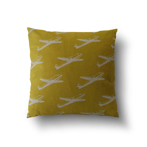 Cushion Cover - Retro Yellow Airplane Transport Pattern - Mia & Stitch