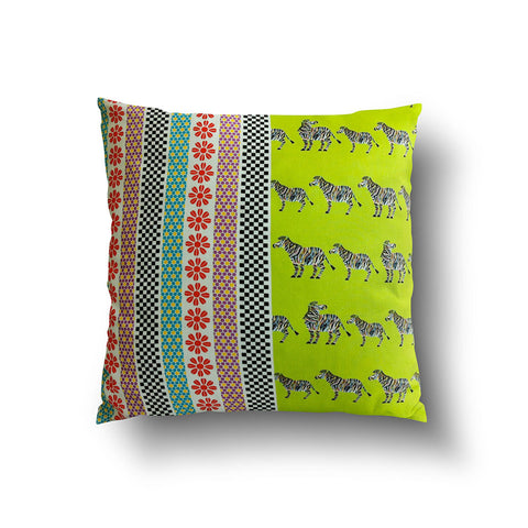 Cushion Cover - Neon Green Zebra and Stripe Pattern - Mia & Stitch