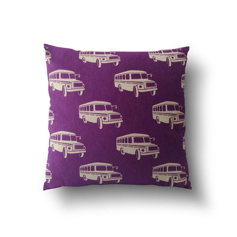 Cushion Cover - Retro Purple Bus Transport Pattern - Mia & Stitch
