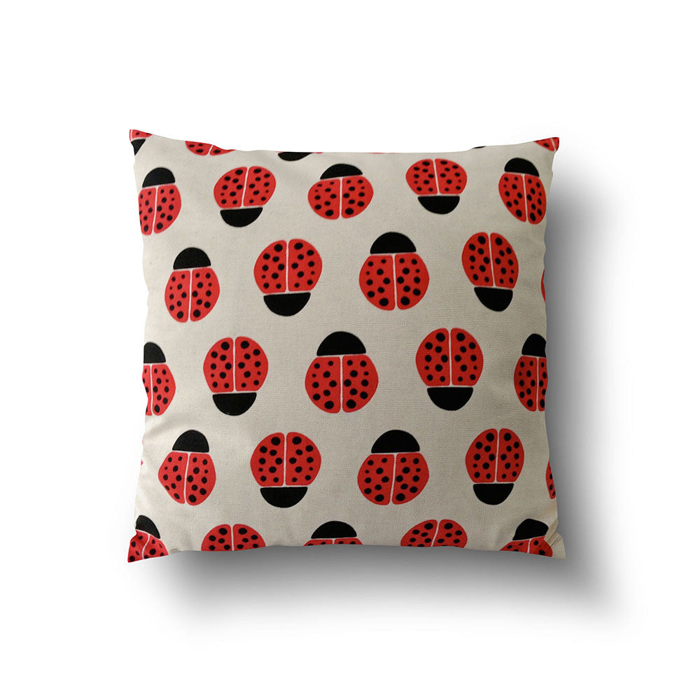 Cushion Cover - Red Ladybird Cotton Linen Pillow - Mia & Stitch