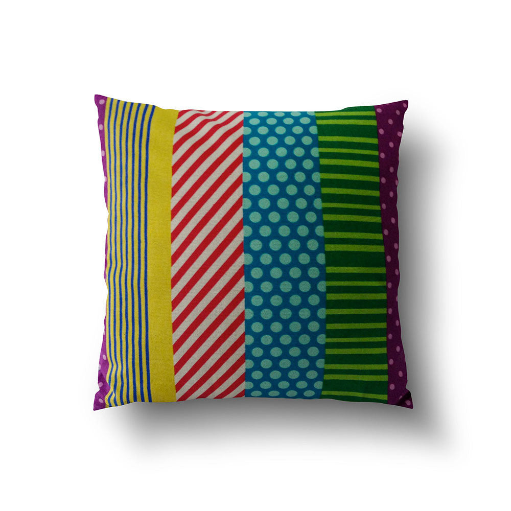 Cushion Cover - Colourful Stripy Patchwork Pattern - Mia & Stitch