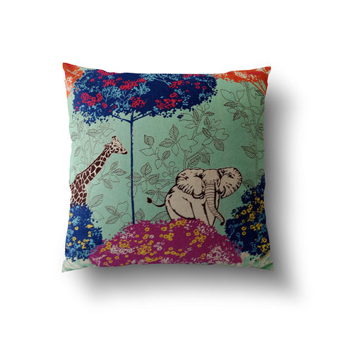 Cushion Cover - Aqua Green Animal Cotton Linen Pillow - Mia & Stitch