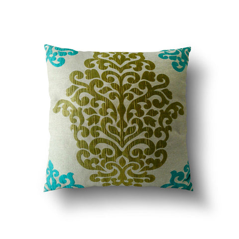 Cushion Cover - Luxury Damask Turquoise Blue and Green - Mia & Stitch