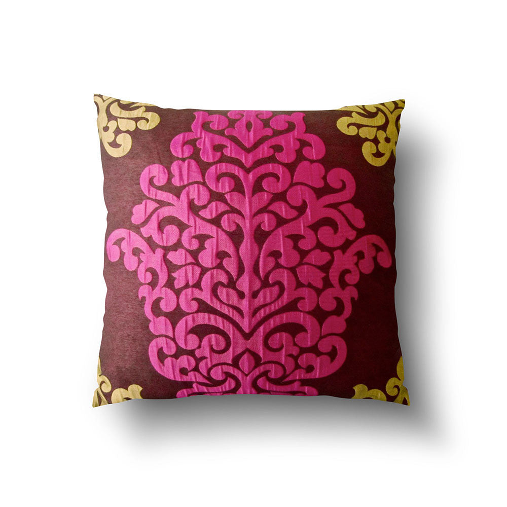 Cushion Cover - Luxury Damask Dark Brown, Fuchsia Pink and Green - Mia & Stitch