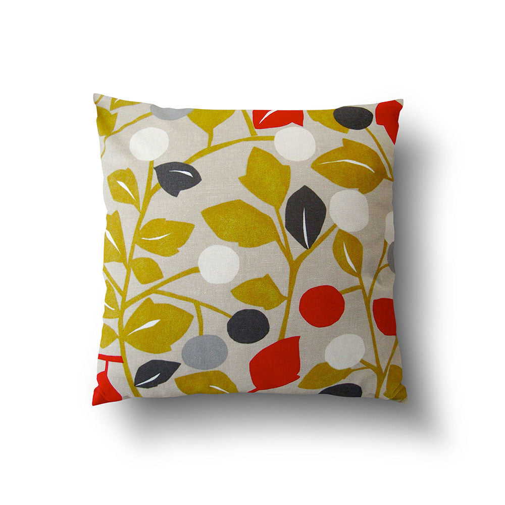 Cushion Cover - Retro Floral Green and Red on Oatmeal Background - Mia & Stitch