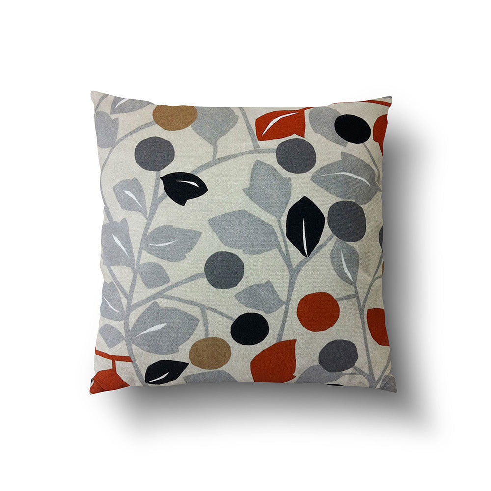 Cushion Cover - Retro Floral Burnt Orange, Grey and Brown on Oatmeal Background - Mia & Stitch