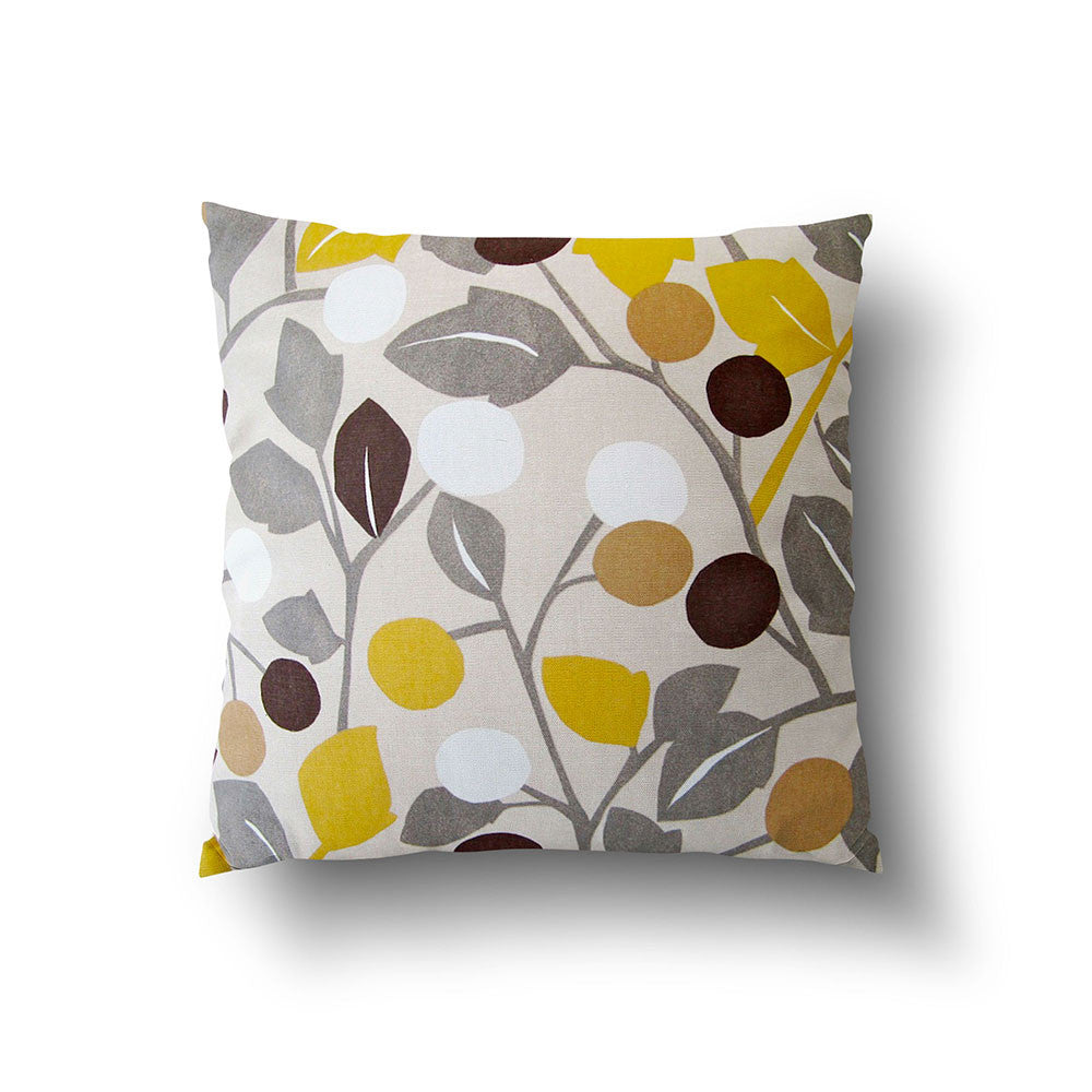 Cushion Cover - Retro Floral Yellow, Grey and Brown on Oatmeal Background - Mia & Stitch