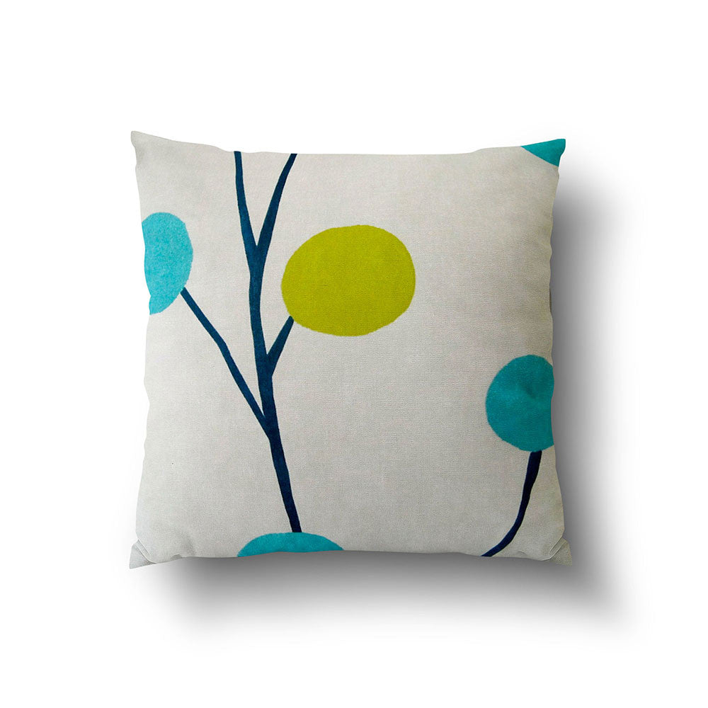 Cushion Cover - Retro Floral Green and Turquoise on Oatmeal Background - Mia & Stitch