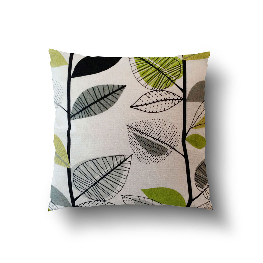 Cushion Cover - Retro Floral Green and Grey on Off White Background - Mia & Stitch