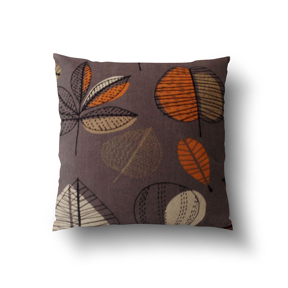 Cushion Cover - Retro Floral Orange, Beige and Chocolate Brown - Mia & Stitch