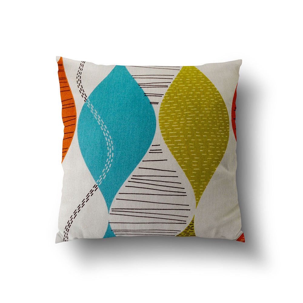 Cushion Cover - Retro Colorful Geometric Wavy Pattern on Off White Background - Mia & Stitch