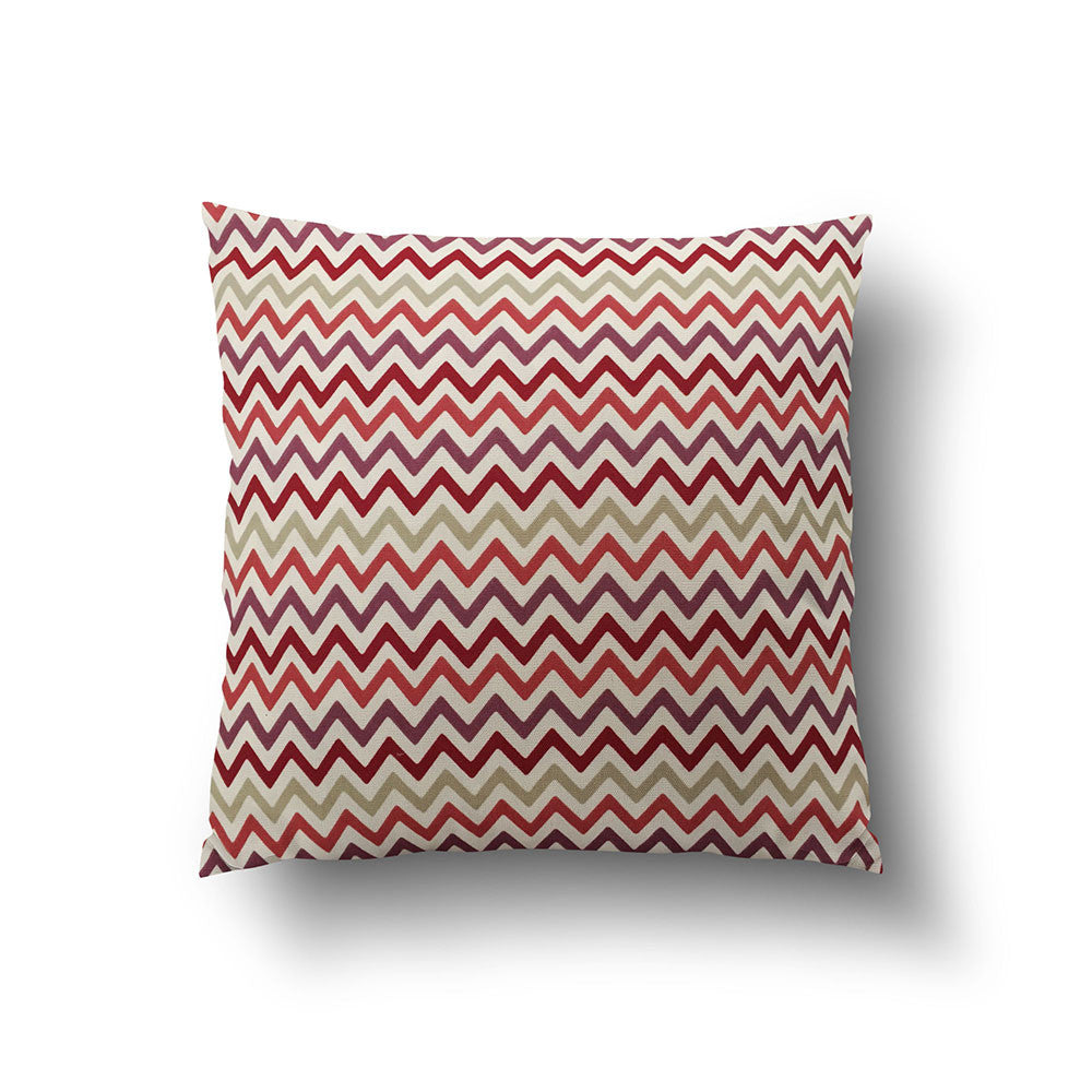 Cushion Cover - Scandinavian Style Chevron Red on White Background - Mia & Stitch