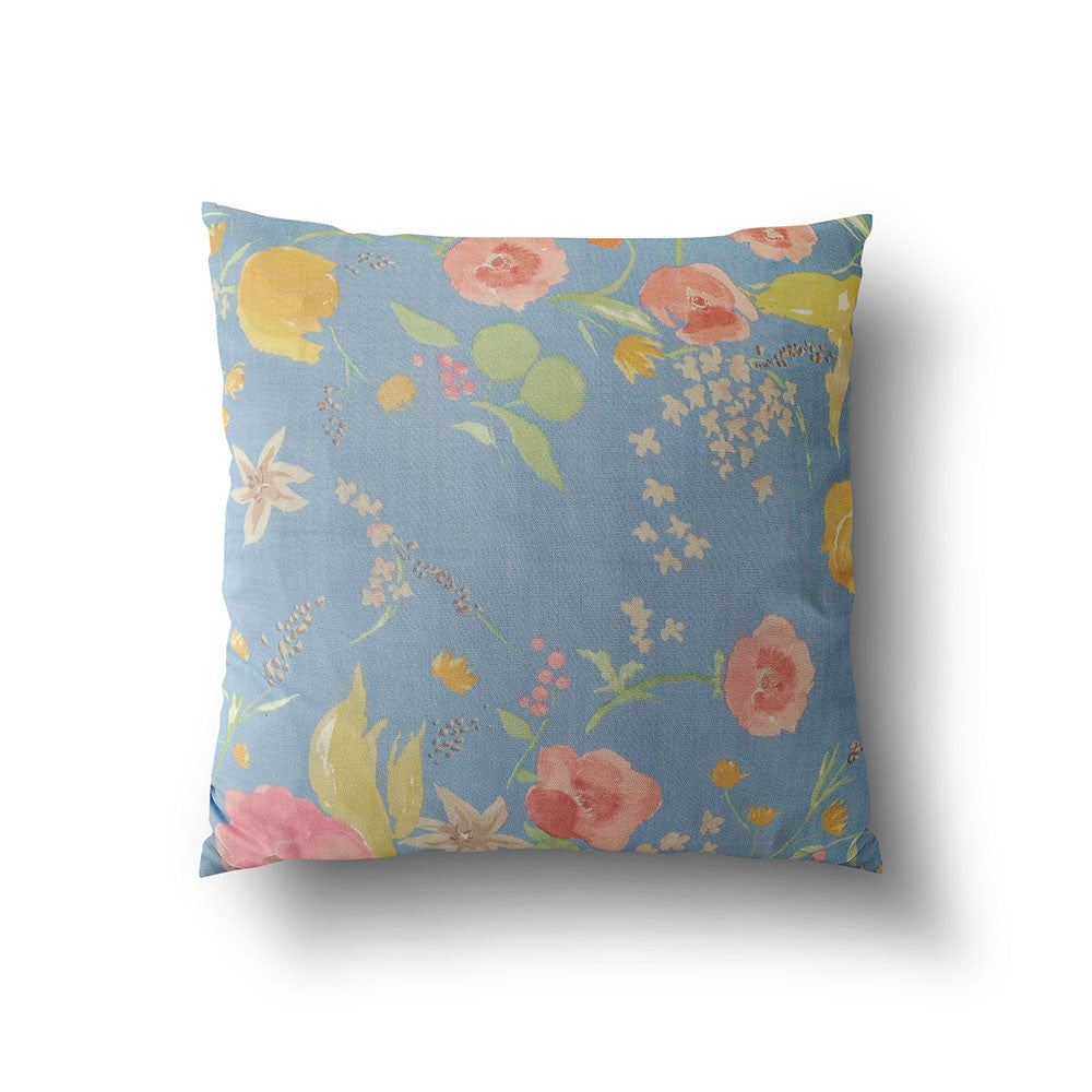Cushion Cover - Baby Blue with Florals designed by Nani Iro - Mia & Stitch