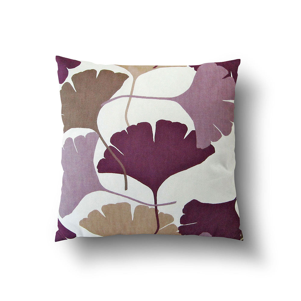 Cushion Cover - Ginkgo Leaf Purple, Brown and Beige on White Background - Mia & Stitch
