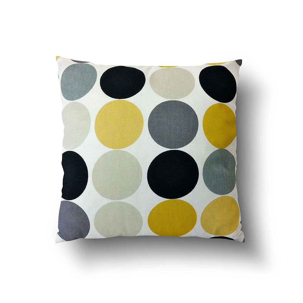 Cushion Cover - Retro Yellow and Grey Dots on White Background - Mia & Stitch