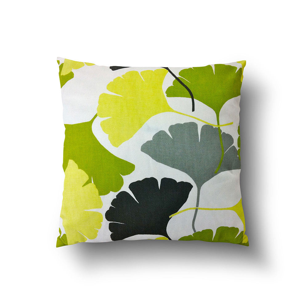 Cushion Cover - Ginkgo Leaf Green, Grey and Black on White Background - Mia & Stitch