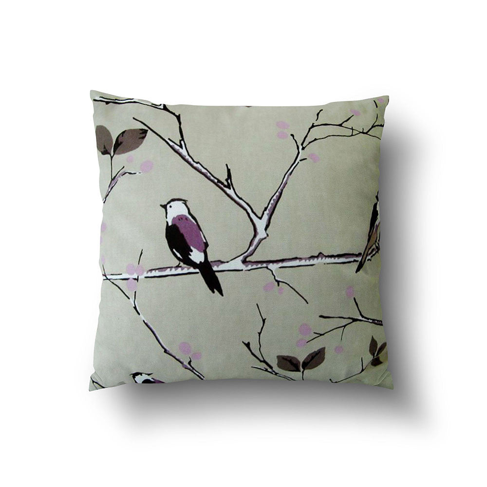 Cushion Cover - Bird on Tree Branch Purple on Beige Background - Mia & Stitch