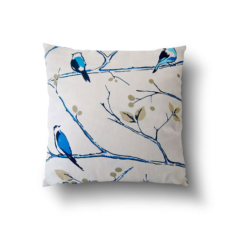 Cushion Cover - Bird on Tree Branch Blue on White Background - Mia & Stitch