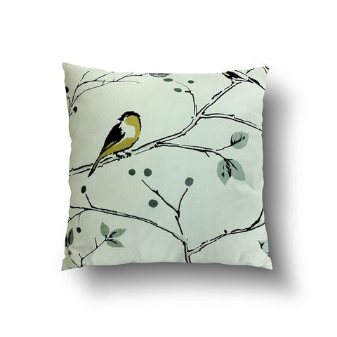 Cushion Cover - Bird on Tree Branch Mustard Yellow and Grey on White Background - Mia & Stitch
