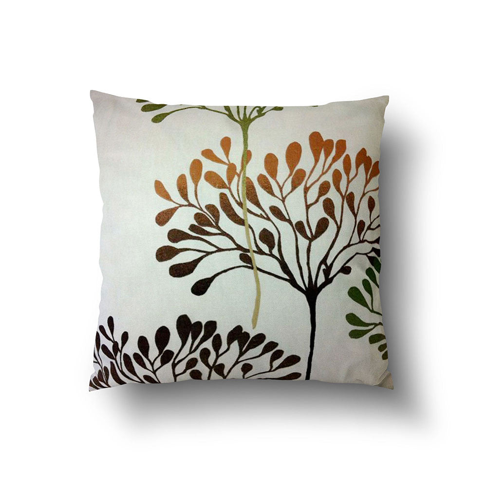 Cushion Cover - Brown and Olive Green Trees on Cream Background - Mia & Stitch