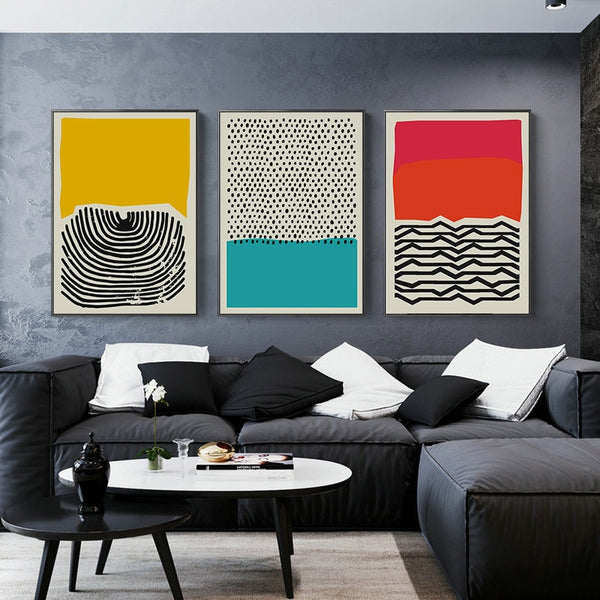 Modern Multicolored Abstract Geometric Wall Art Canvas Painting Picture Posters and Prints Gallery Kids Kitchen Home Decor - Mia & Stitch