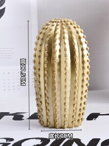 New Nordic style Golden or White Cactus Ornament Home Decor Resin Nice Catcus Figure Handmade Simulation Plant for Home & Shop - Mia & Stitch